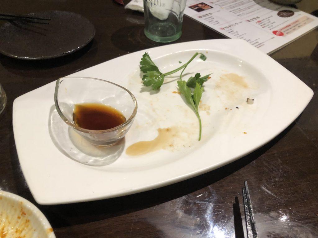 チヂミを完食した皿の画像