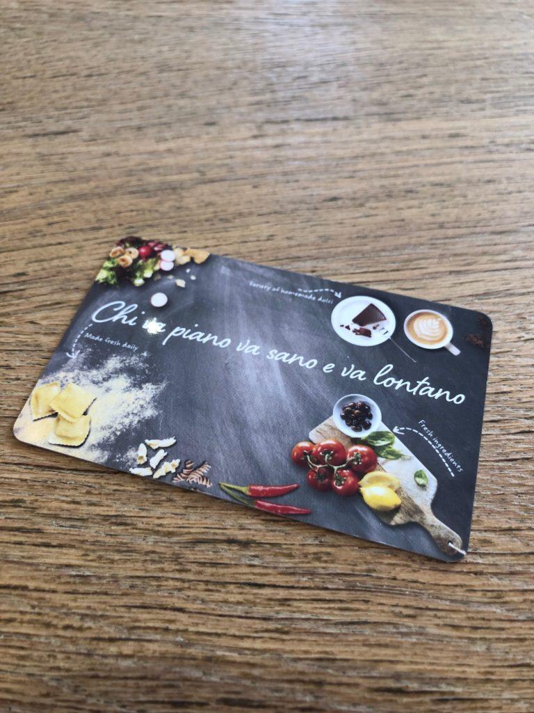 「Vapiano」店内で使用するICカードの画像
